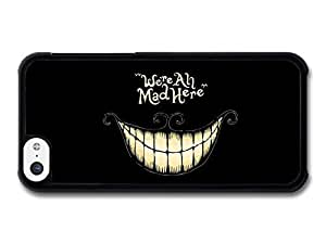 AMAF ? Accessories Alice in Wonderland Cheshire Cat Smile We're All Mad Here Book Quote case for iPhone 5C