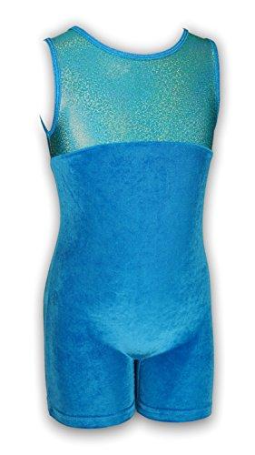 Pelle Gymnastics Biketard - Princess/Turquoise Velvet (Other Prints Available) - AXS (Biketard Velvet)