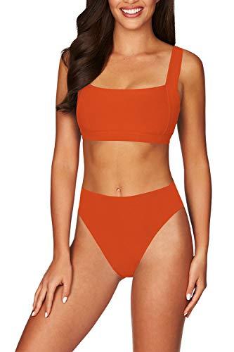 Viottiset Women's Square Neck Wide Straps High Waist Ribbed Bikini Bathing Suit L Neon Orange