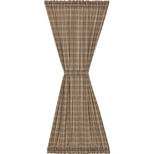 VHC Brands Farmhouse Curtains Miller Farm Charcoal Plaid Rod Pocket Cotton Tie Back(s) Door Panel, One Size, Dark Tan