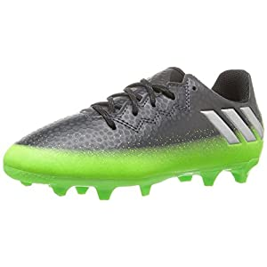 Adidas Performance Kids' Messi 16.3 Firm Ground Soccer Cleats, Dark Grey/Metallic Silver/Neon Green, 4.5 M US Big Kid