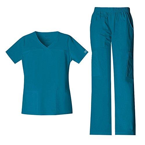 Cherokee Women's Workwear Core Stretch V-Neck Top 4727 & Mid Rise Pull On Cargo Pant 4005 Scrub Set (Caribbean Blue - XX-Small/XXSmall Petite)