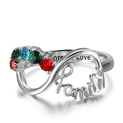 Luolajewelry Personalized Mother Rings with 5 Childrens Simulated Birthstones Custom Engraved Infinity Ring for Family (6)