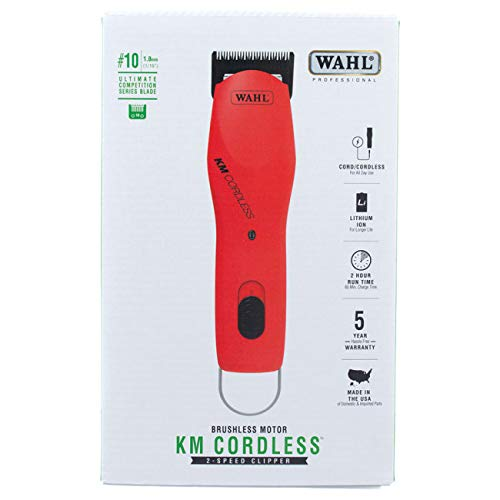 Wahl Professional Animal KM Cordless 2-Speed Detachable Blade Pet and Dog Clipper Kit, Poppy (#9596-200) by Wahl Professional Animal