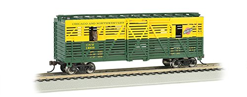 Bachmann 40' Animated Stock Car - Chicago and Northwestern with Horses - HO Scale