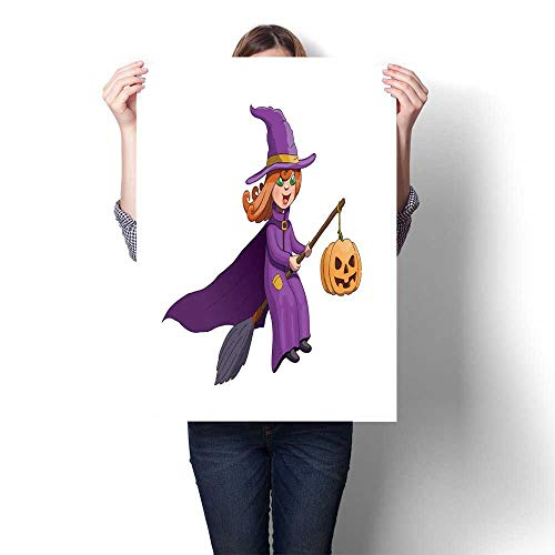 smllmoonDecor Abstract Painting Halloween Witch on Broom with Pumpkin Decorative Fine Art Canvas Print Poster K 16