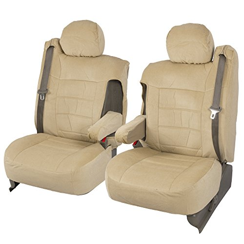 Velour Fabric Front Seat Covers for Trucks SUV Integrated Armrest TS (Beige Tan)