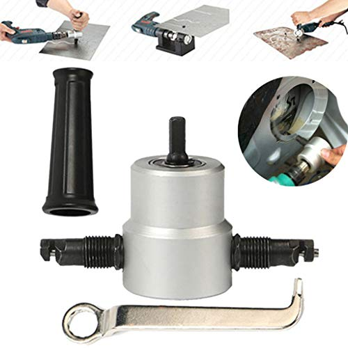 (Double Head Sheet Nibbler Metal Cutter, Hole Saw Cutter Electric Drill Attachment - Universal Electric Power Drill Part for Straight Curve and Circle Cutting (130x60mm(DiaxH),)