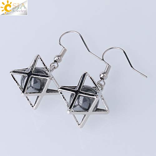Natural Stone Hexagram Earrings | Hollow Star Purple Crystal Round Bead Drop Earring | Fashion Women