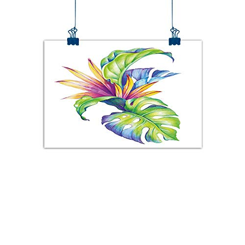 """Sunset glow Home Wall Decorations Art Decor Plant,Tropical Leaves and Monstera with Abstract Color Scheme Hawaiian Floral Elements,Multicolor for Bedroom Office Homes Decorations 24""""x20"""""""