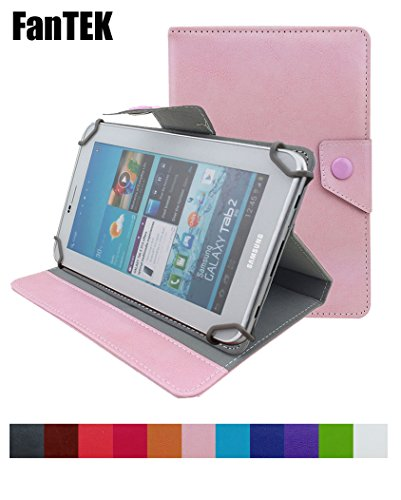 Photo - FanTEK Universal 9 Inch Adjustable Leather Case Cover for NeuTab N9/N9 Pro, Tagital T9, Nextbook NEXT9P, Dragon Touch N90, Pyle Astro PTBL9C/PTBL92BC/PTBL93BCD, ProntoTec A20, XELIO P900A, Phetron KJ902, Idroid Q4, Artchros X921, Afunta AF901, amar, Alldaymall, Goldengulf, Digital Reins, iGolden, E-passion, SVP (Pink)