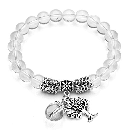 Top Plaza Stretch Clear Quartz Tree of Life Lucky Stone Bracelet Reiki Healing Crystal Gemstone Dangle Charms Pendant Birthstone Bracelet(6.2