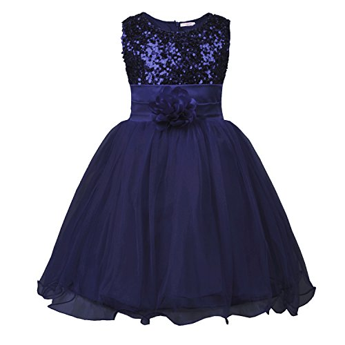JerrisApparel Little Girls' Sequin Mesh Flower Ball Gown Party Dress Tulle Prom (6, Navy Blue)