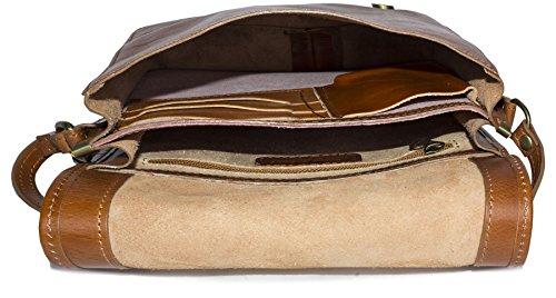 Big bolso Shop para hombre piel auténtica Cruz Cuerpo Bolsa de hombro oficina de trabajo Tan - Medium Size