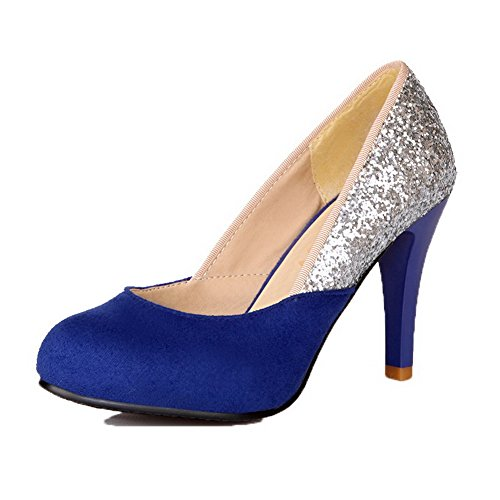 Pump Kitten Round Women's Shoes Heels Pu Blue On Pull Toe WeenFashion qRCf8w48