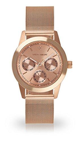 YVES CAMANI Madelaine Women's Wrist Watch Quartz Analog Rosegold Stainless Steel Rosegold Dial YC1100-A-695