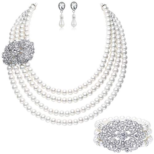 BABEYOND 1920s Gatsby Pearl Necklace Vintage Bridal Pearl Necklace Earrings Jewelry Set Multilayer Imitation Pearl Necklace with Brooch (Style 4-Silver) ()