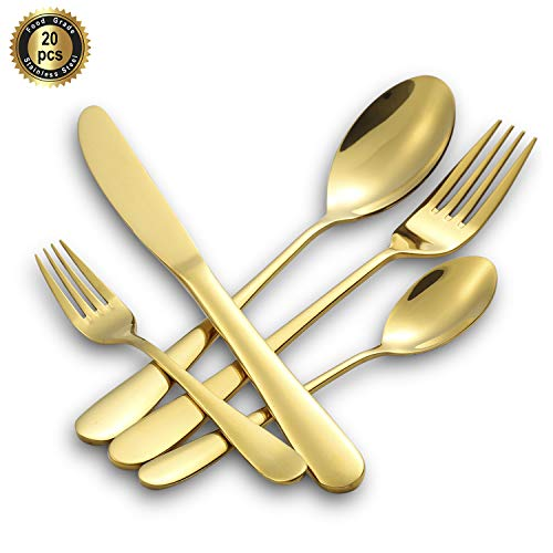 (Hoften 20 Piece Gold Flatware Set, Stainless Steel with Gold Plated Utensils include Fork Spoon Knife Tableware For Special Occasion Cutlery Set Service for 4,Safe in Dishwasher(HD822-GO))