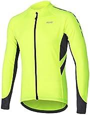 ARSUXEO Heren fietsshirt met lange mouwen volledige rits shirt met zakken voor MTB Bike 6030