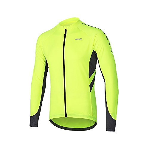 ARSUXEO Men's Full Zipper Long Sleeves Cycling Jersey Bicycle MTB Bike Shirt 6030 Green Size L