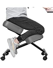 VIVOHOME Ergonomic Kneeling Chair Adjustable Stool with Thick Foam Cushions and Smooth Gliding Casters for Home Office Gray