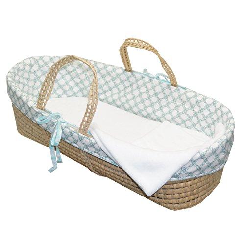 Cotton Tale Designs 100% Cotton Aqua Turquoise Blue White Tan Floral Lattice Neutral Wicker Moses Basket