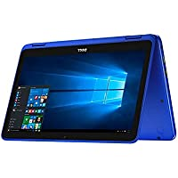 Dell Inspiron 2-in-1 11.6-inch HD Touchscreen Convertible Laptop PC, Intel Celeron N3060 Dual-Core Processor, 2GB RAM, 32GB eMMC, WIFI, Bluetooth, HDMI, NO DVD, Windows 10, Blue