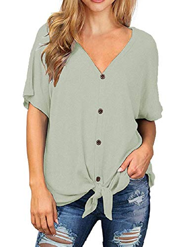 Chvity Womens Loose Henley Blouse Short Sleeve V Neck Button Down T Shirts Tie Front Knot Casual Tops (L, 06 Light Green) ()