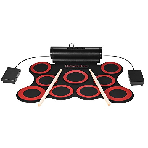 ammoon Roll Up Drum Set Kit 7 Silicon Digital Electronic Drum Pads USB Powered with Drumsticks Foot Pedals 3.5mm Audio Cable for Practice Beginners Kids (Black + Red (Style1))