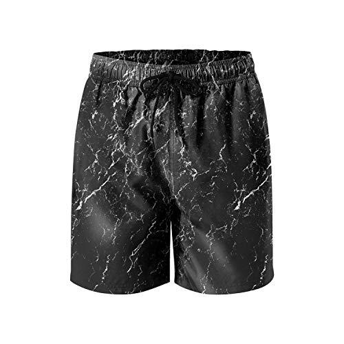 Black Marble Background Stone Texture Men's Swim Side Split Mesh Lining Cargo Shorts