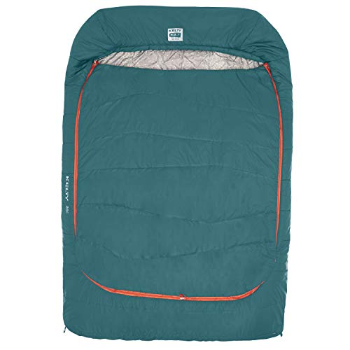Kelty Tru.Comfort Doublewide 20 Degree Sleeping Bag, Deep Teal - Double Sleeping Bag for Couple's & Family Camping - Stuff Sack Included
