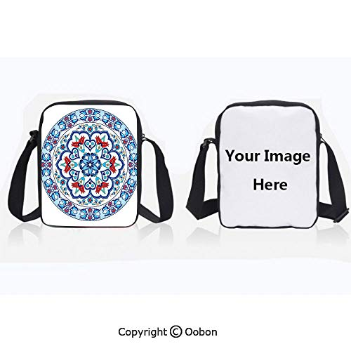 Polyester Anti-Theft Everything Crossbody Bag Unisex Teen Ottoman Turkish Style Art with Tulip Period Ceramic Floral Art Elements European Touch Print Multi Lightweight Zipper Multi-Pocketed Travel B