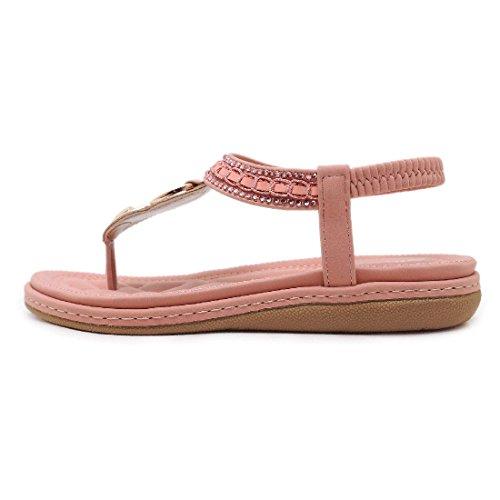 YIBLBOX Womens T-Strap Rhinestone Low Wedges Sandals Summer Casual Beach Flats Slip on Shoes Flip Flops Pink 08 zBoit