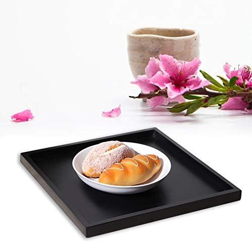 プラスチックサービングトレイ、長方形の木製茶コーヒースナック食品サービングトレイ家庭用キッチンレストラン