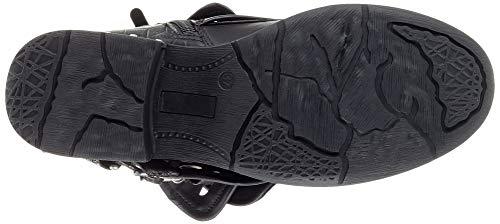 Cavalier Ancho De Angkorly Negro Biker Tacón Botines Piel Mujer 5 Serpiente 3 Classic Cm Tachonado Moda Motociclistas Zapatillas Perforado v6vSX