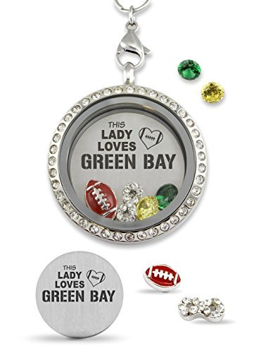 This Lady Loves Green Bay Pro Football Floating Charm Living Memory Locket Magnetic Closure 30mm Stainless Steel Pendant Necklace