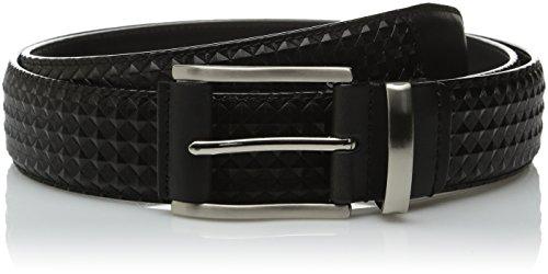 Stacy Adams Men's 34mm Diamond Embossed Leather Belt, black, 34 (Stacy Adams Embossed Belt)