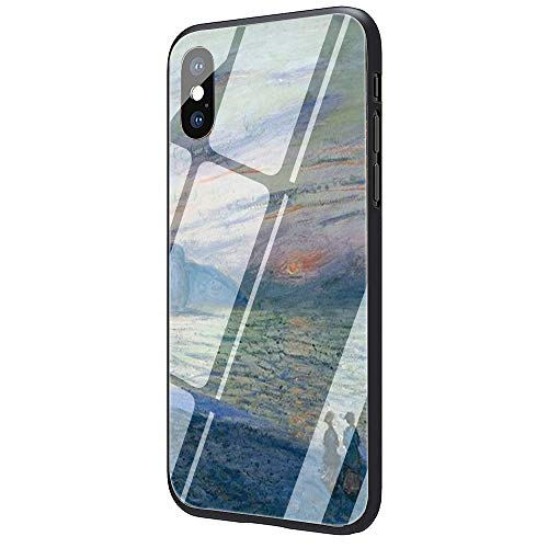 (Claude Monet Painting Tempered Glass Phone Case Cover for Apple iPhone X Xs Max XR 8 7 6 6S Plus (G5,for iPhone X XS) )