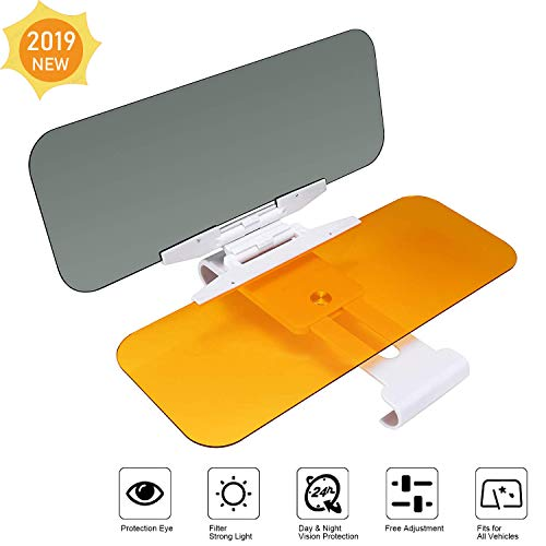 Sun Visor Extender for Cars, 2 in 1 Day/Night Car Sun Visor Extender Anti-Glare Blocker, Sun Visor for Car Windshield, Night Vision Visor for Driving-2019 Upgraded