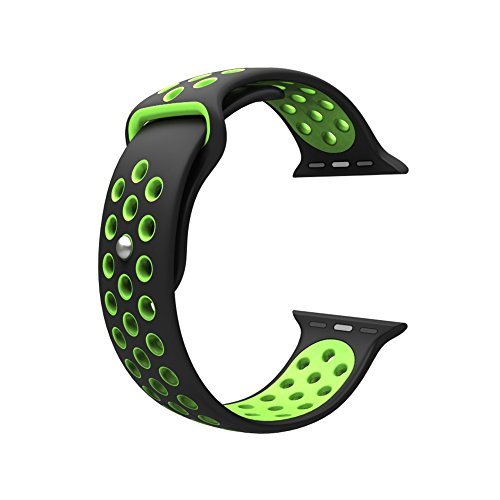 Photo - For Apple Watch Band, Wearlizer Soft Silicone Sport Replacement Strap for both Series 1 and Series 2 - 38mm Black and Green