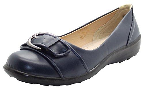 Shoe Tree Comfort Ladies Brogue Slip On Comfort Work Pumps Miley-Navy ONm9Hc9K