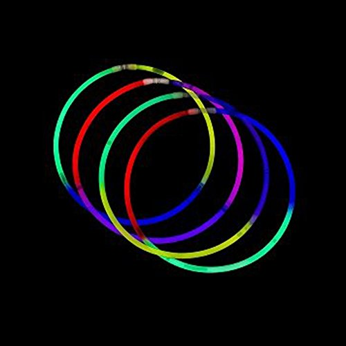 Fun Central I39 50pcs, 22 Inches Premium Glow Necklaces, Glow In The Dark Necklaces, Glow Necklaces Bulk - Assorted Tricolor Mix by Fun Central