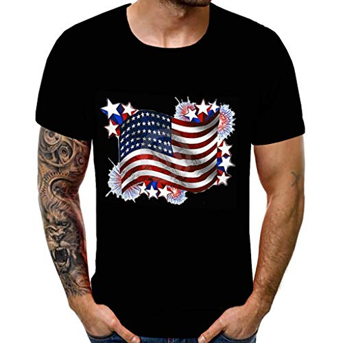 - Toponly Boys Youth Men's T-Shirt Vintage Distressed Skull USA Flag 3D Printing Independence Day Short Sleeves Tops Patriotic Tee