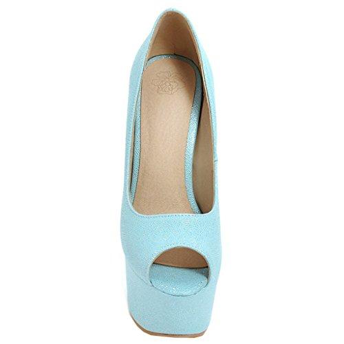 Enmayer Donna Vernice Piattaforma Sexy Stiletto Super Tacchi Tondi E Peep Toe Pompe Slip On Abito Da Sposa Scarpe Corte Blu # 22