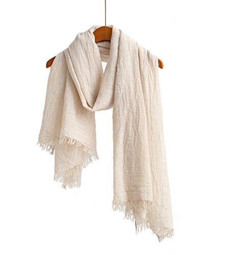 100% Cotton Scarf Shawl Super Soft Lightweight Scarves And Wraps For Men And Women Unisex Beige Stripe