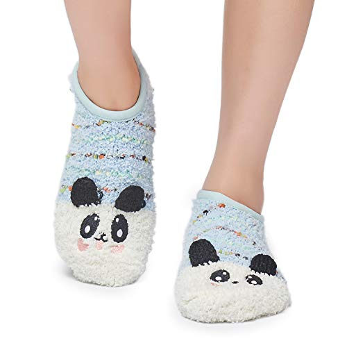 (Leotruny Women's Animal Winter Cute Cozy Warm Fuzzy Slipper Socks (C13-Blue Panda))