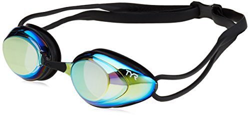 TYR Black Hawk Racing Mirrored Goggles, Gold Metal Rainbow Black, One Size