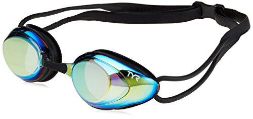 (TYR Black Hawk Racing Mirrored Goggles, Gold Metal Rainbow Black, One Size)