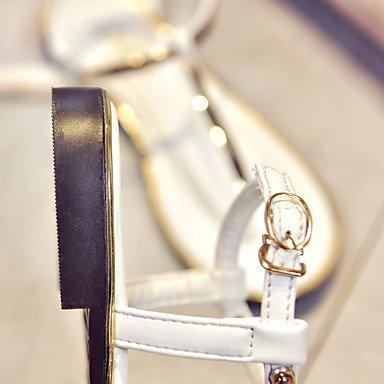 LvYuan Mujer-Tacón Plano-Tira en T Confort Gladiador Tira en el Tobillo Suelas con luz Zapatos del club-Sandalias-Exterior Vestido Informal- Black