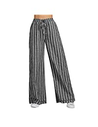 Bravetoshop Women Linen Long Pants Striped Loose Wide Leg Lounge Pants Elastic Waist Drawstring Pajama Pants with Pocket